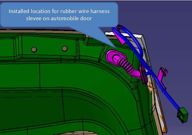 Installed location of rubber wire sleeve