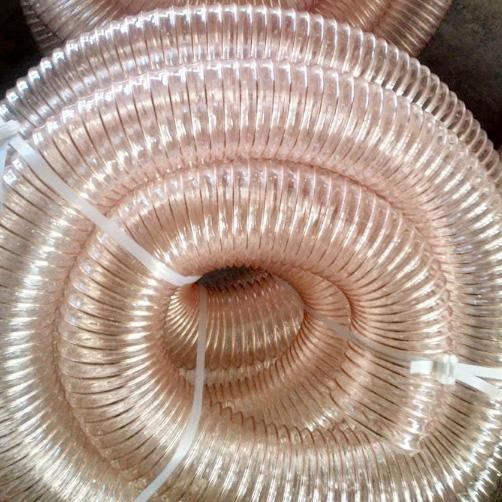 Translucent TPU Hose With Steel Spiral Coppered Coated Abrasion Resistant